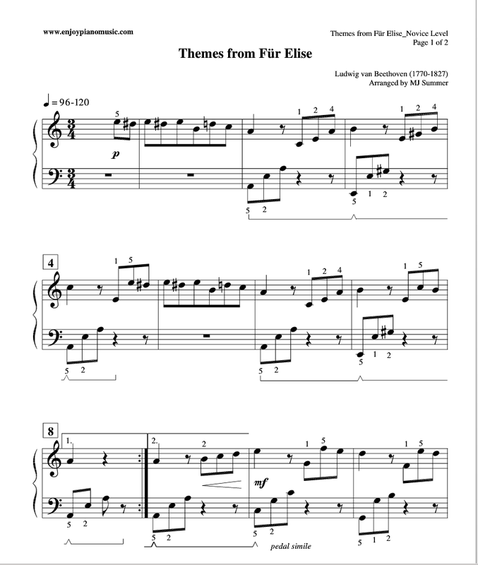 CLICK TO PRINT Fur Elise Piano Sheet Music FREE At 4 Skill
