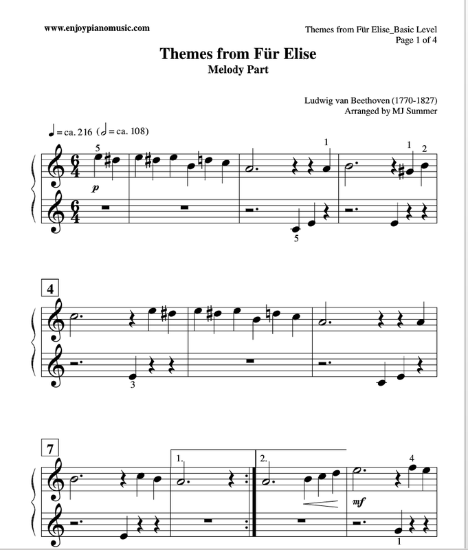 Free Fur Elise Sheet Music For Duet (useful For Kids Or