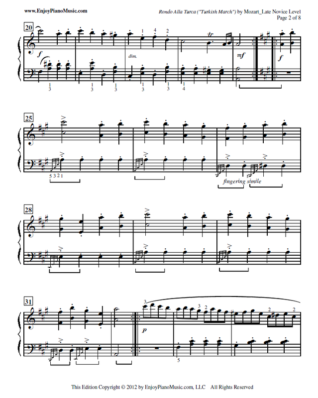 Piano beginning piano sheet music : Rondo Alla Turca Sheet Music Free for Piano at 4 Different Skill ...